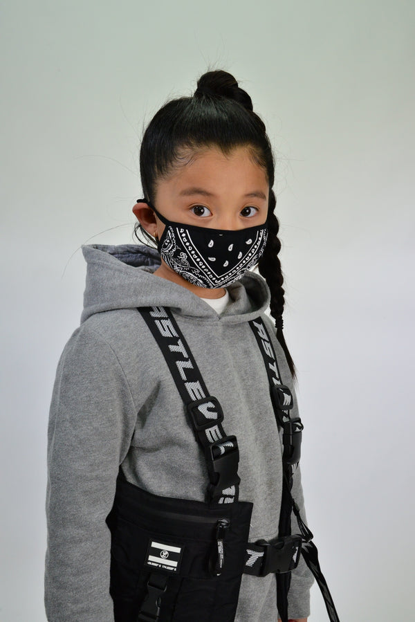 KIDS BANDANA FACE MASK - BLACK