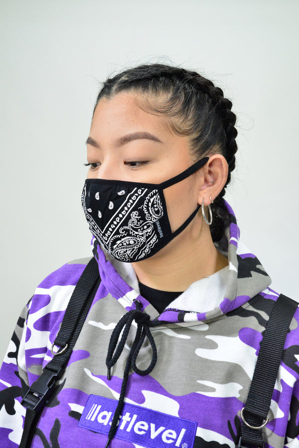 WOMENS BANDANA FACE MASK - BLACK