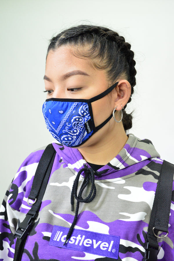 WOMENS BANDANA FACE MASK - ROYAL BLUE