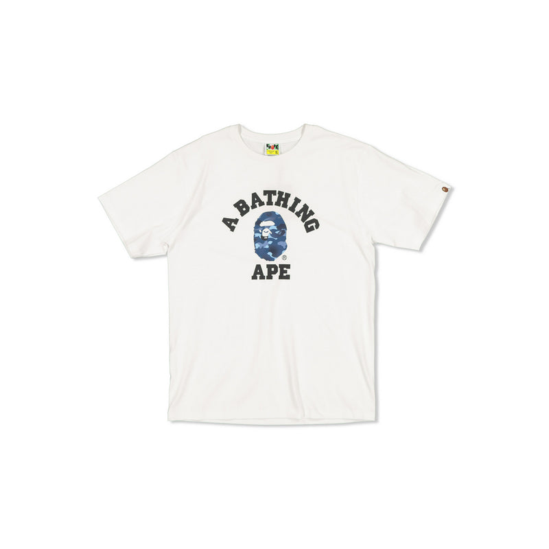 BAPE COLOURED CAMO COLLEGE TEE - BLUE