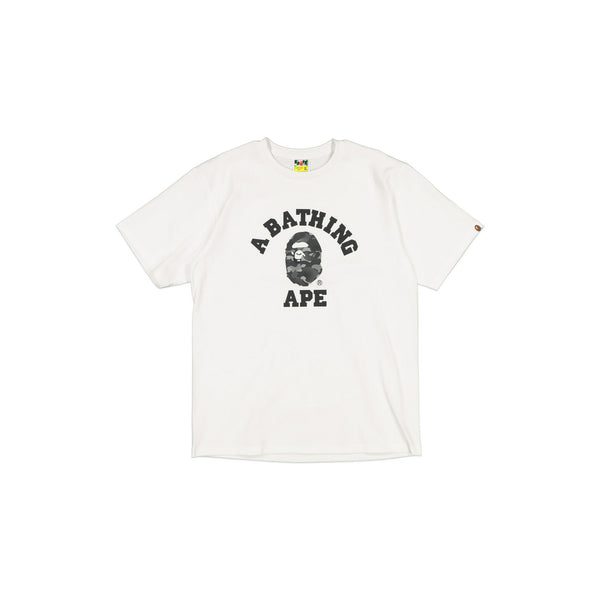 BAPE COLOURED CAMO COLLEGE TEE - BLACK/WHITE