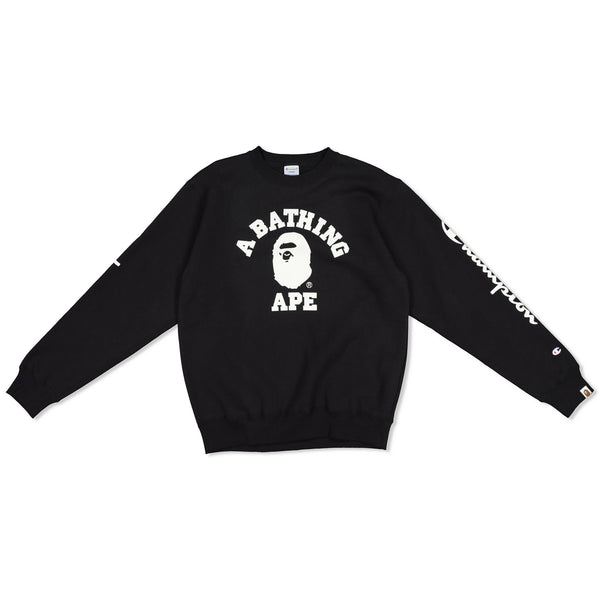 BAPE X CHAMPION CREWNECK - BLACK