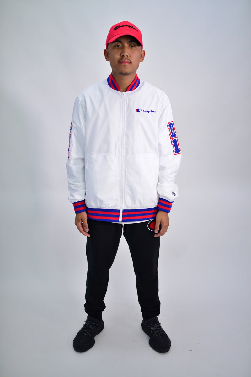 NYLON VARSITY ZIP UP JACKET - WHITE