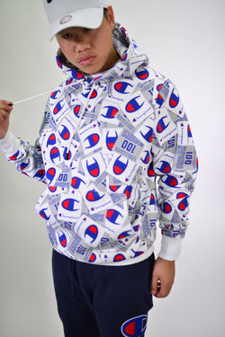 ALLOVER PRINT SUPER FLEECE 3.0 PULLOVER HOODIE - WHITE