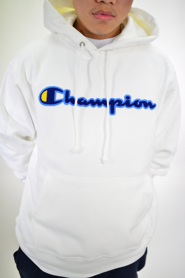 REVERSE WEAVE PULLOVER HOODIE - WHITE/BLUE