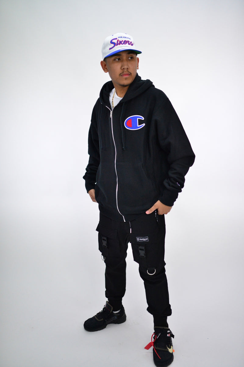 REVERSE WEAVE C ZIP UP HOODIE - BLACK