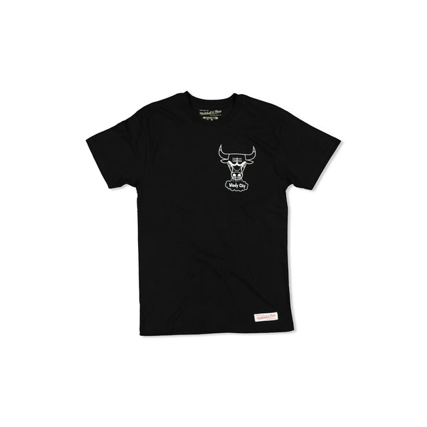 CHICAGO BULLS LOGO WORDMARK TEE - BLACK/WHITE