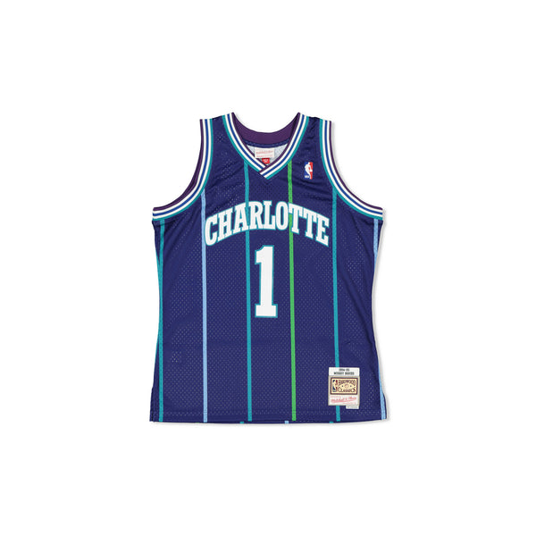 SWINGMAN JERSEY CHARLOTTE HORNETS MUGGSY BOGUES - PURPLE/TEAL
