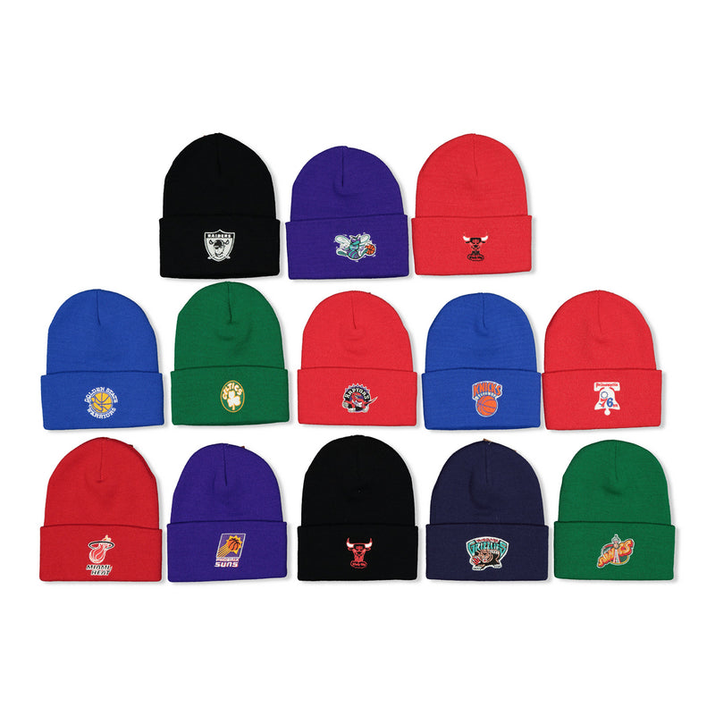 MITCHELL & NESS EMBROIDERED LOGO CUFFED BEANIES