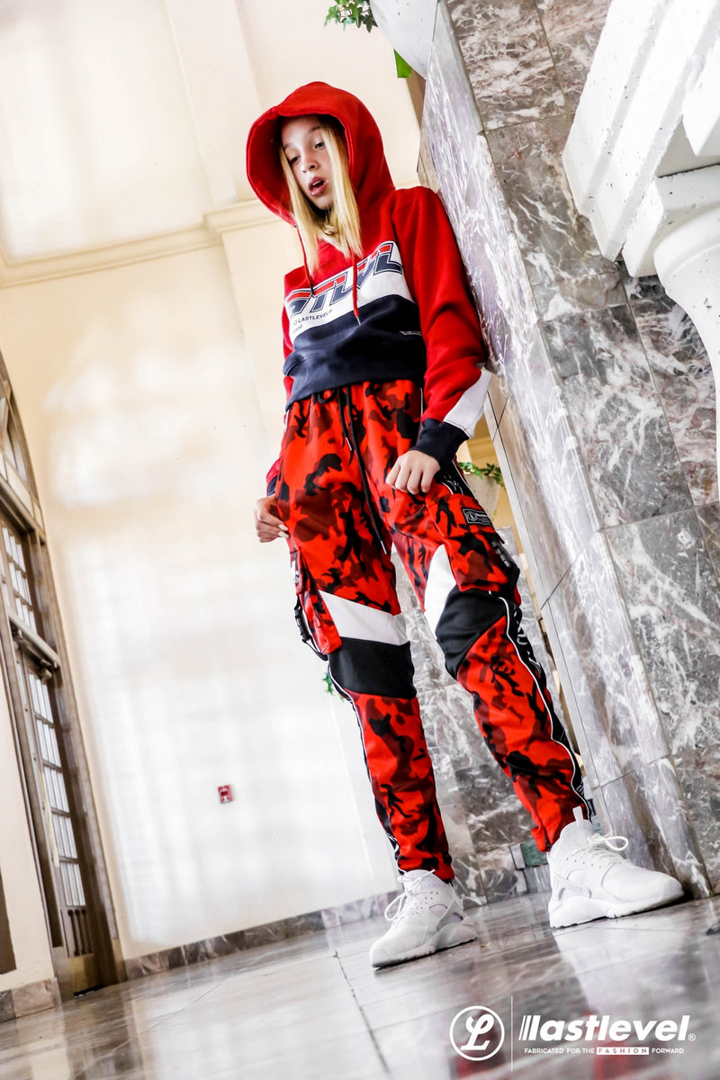 WOMENS NEON CAPSULE 2.0 CROPPED HOODY - RED/WHITE/NAVY