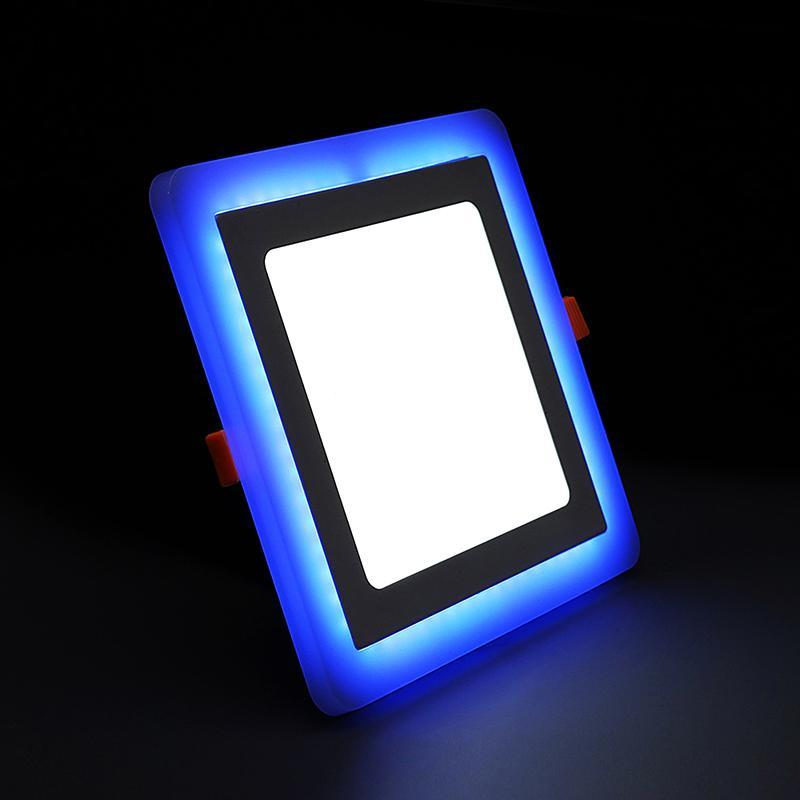 G.W.S LED Wholesale 3W+3W / Day White+Blue / No Recessed Square Blue Edge Lit LED Panel Light
