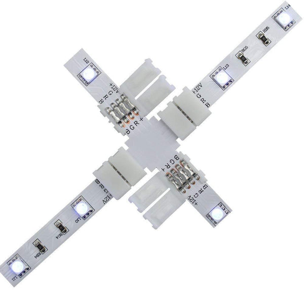 G.W.S LED Wholesale 4 Pin LED RGB Strip Light X Shape Connector