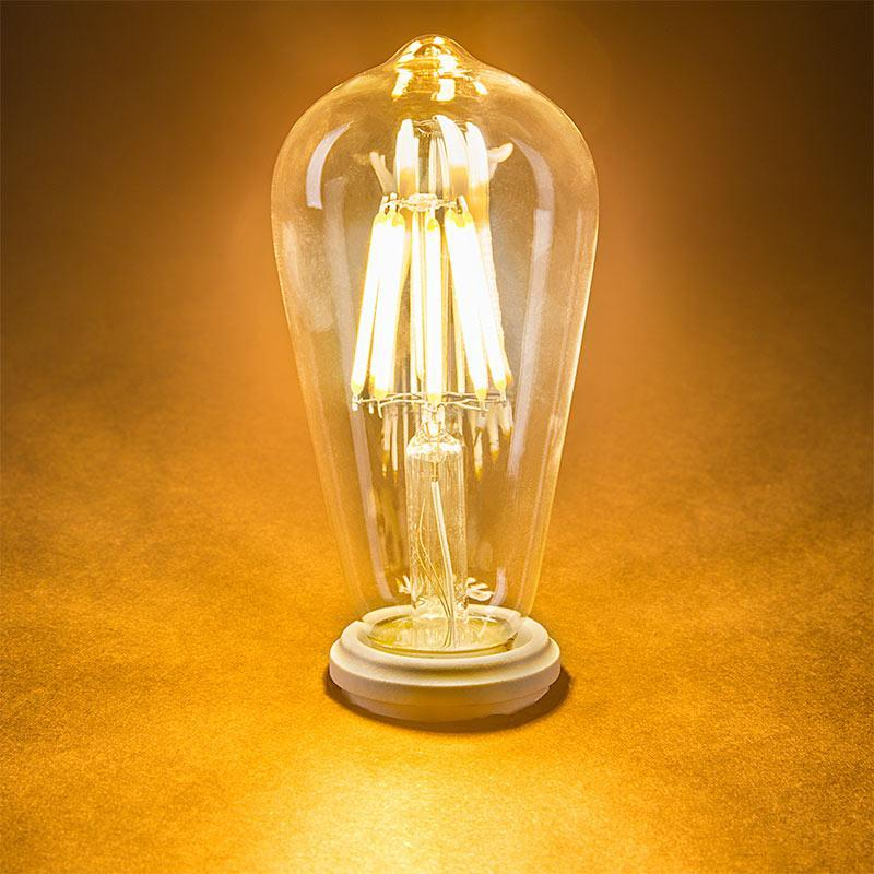 G.W.S LED Wholesale Vintage Style Dimmable E27 8W LED Filament Pear Light Bulb