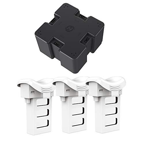 4 in 1 Charger and 3 Pcs of Modular Batteries for RC Drone HS110D White Color