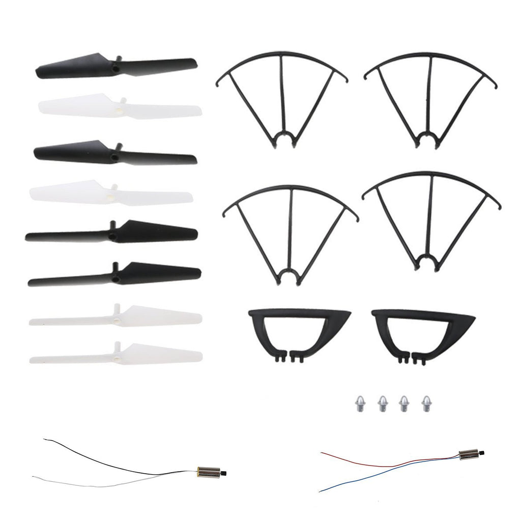 HS110W,HS200W RC Drone Quadcopter Spare Parts Crash Pack (2 Spare Blades Sets+ 4 Propeller Guards+ 2 Landing Gears + 2 Replacement Motors)