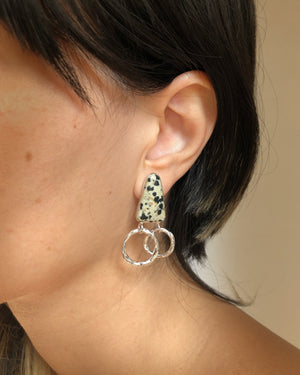 GINA WITH DALMATIAN JASPER // silver earrings - ORA-C jewelry - handmade jewelry by Montreal based independent designer Caroline Pham