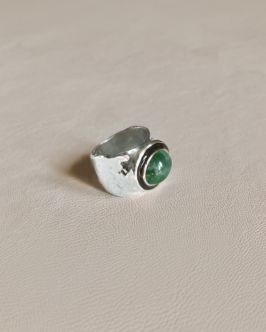 GIORGIO WITH JADE // silver ring - ORA-C jewelry - handmade jewelry by Montreal based independent designer Caroline Pham