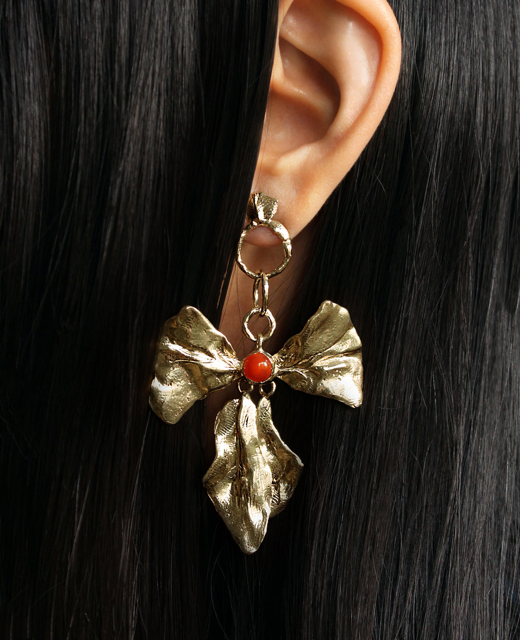 REIGN BOW // earrings with carnelian - ORA-C jewelry - handmade jewelry by Montreal based independent designer Caroline Pham