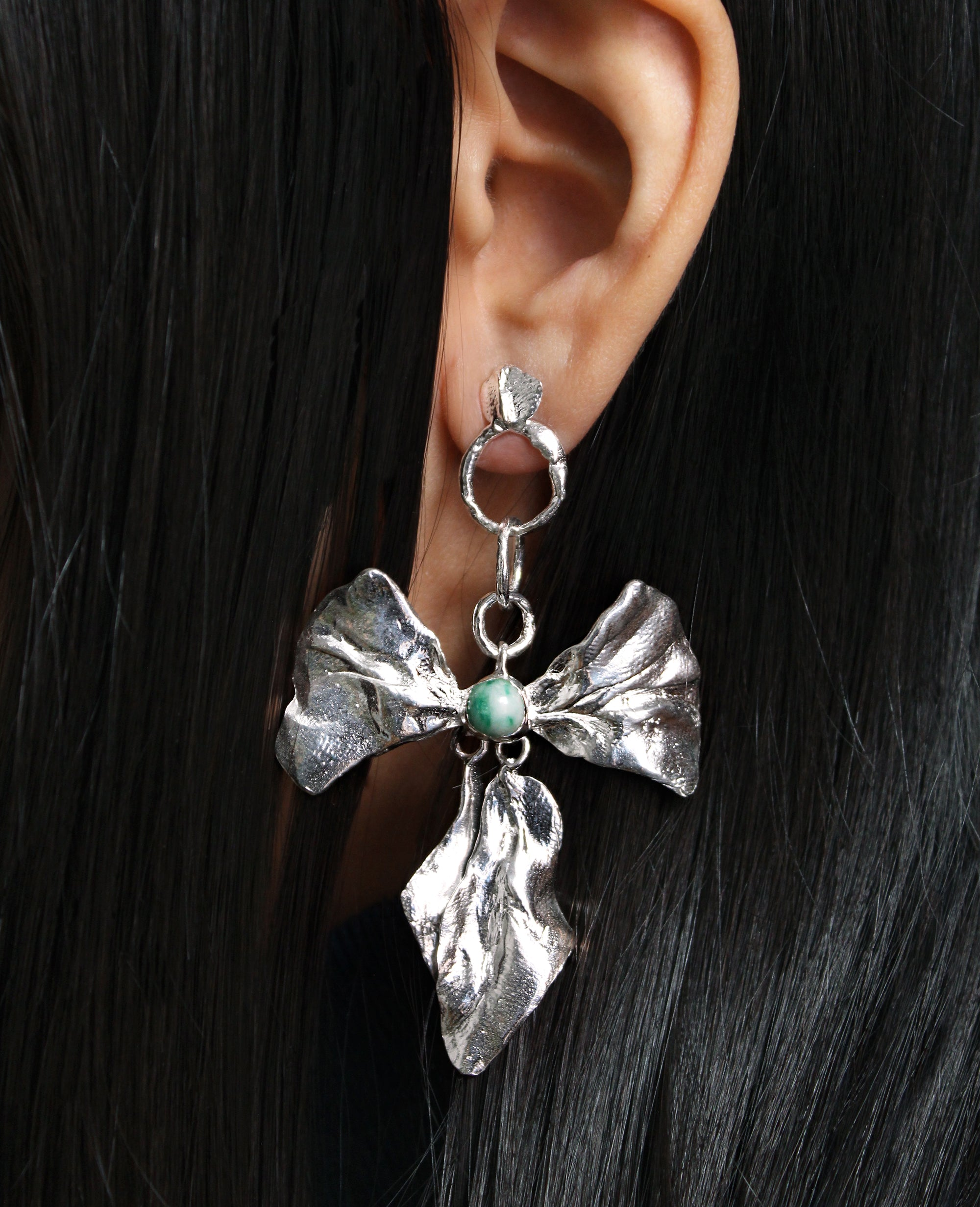 REIGN BOW // earrings with zing jiang jade - ORA-C jewelry - handmade jewelry by Montreal based independent designer Caroline Pham