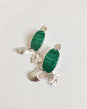 LOUISETTE WITH MALACHITE // silver earrings - ORA-C jewelry - handmade jewelry by Montreal based independent designer Caroline Pham