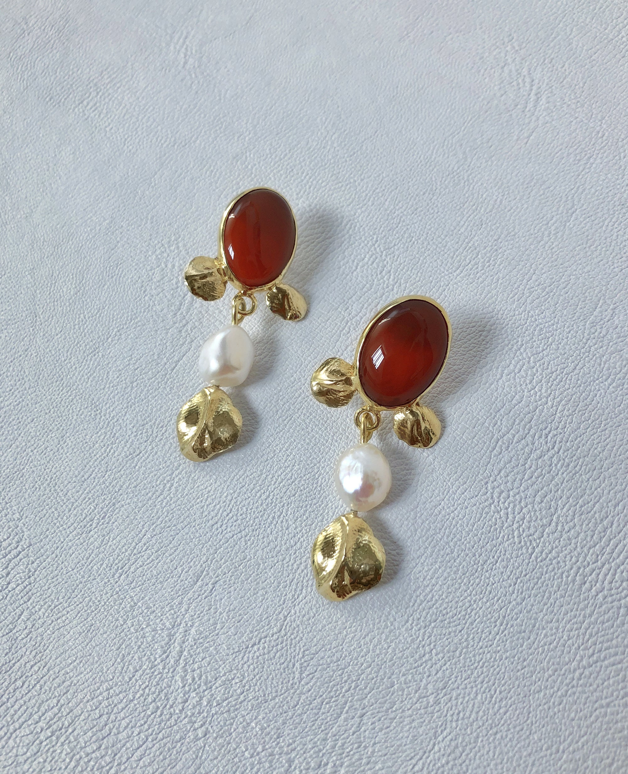 MADELEINE // carnelian and baroque pearls - ORA-C jewelry - handmade jewelry by Montreal based independent designer Caroline Pham
