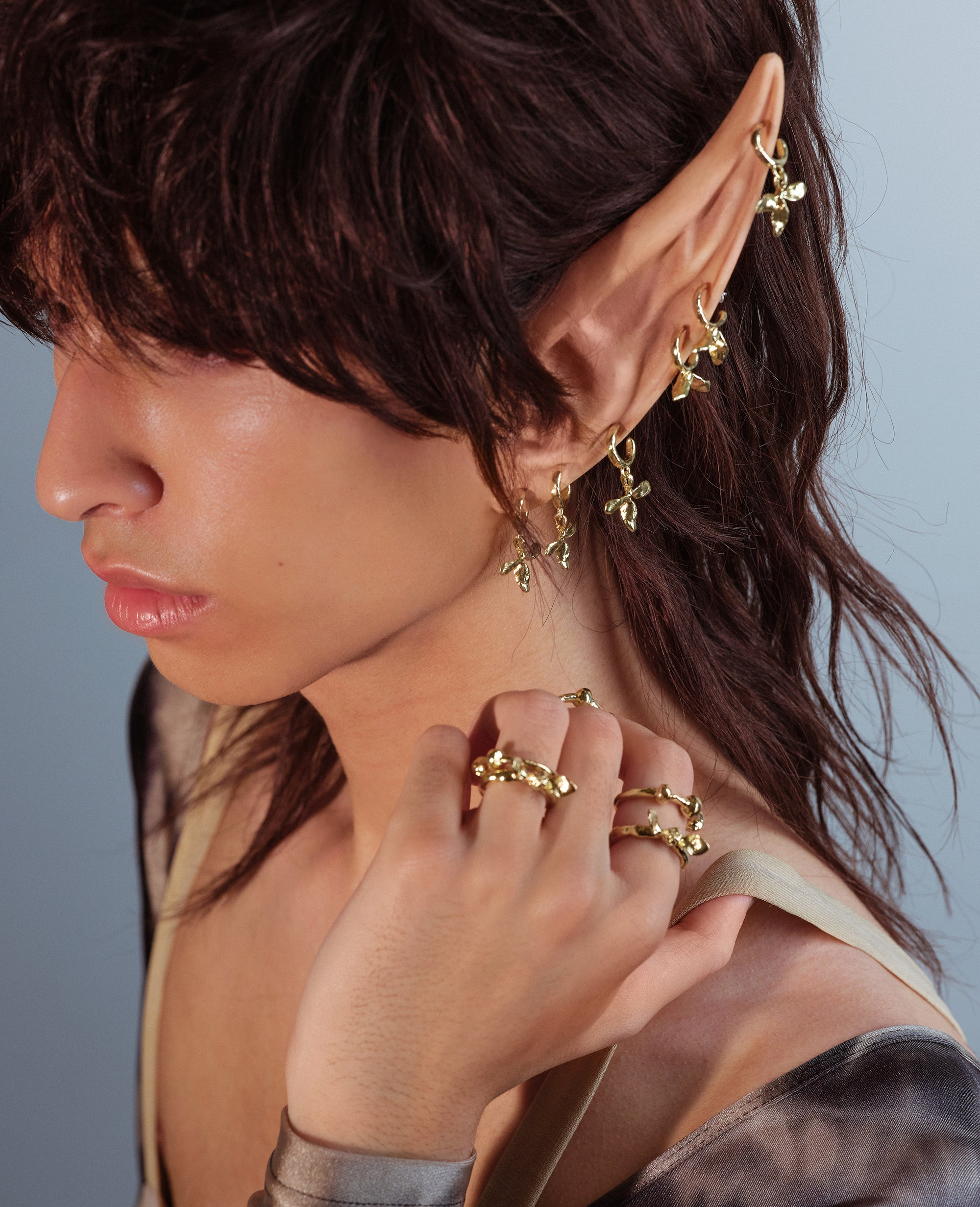 BLOOM // golden mini hoops - ORA-C jewelry - handmade jewelry by Montreal based independent designer Caroline Pham