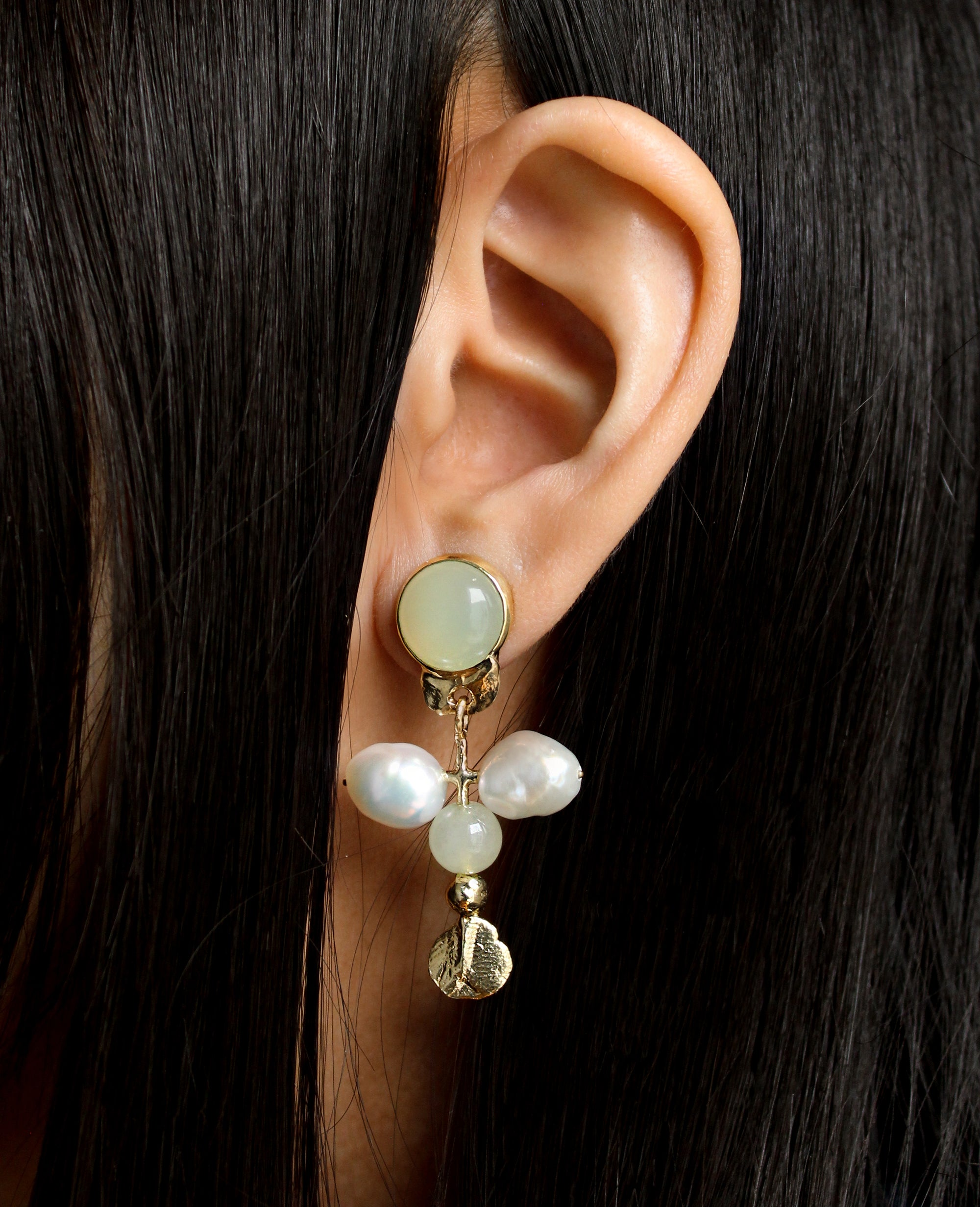 OPEN ARMS // light green jade and baroque pearls - ORA-C jewelry - handmade jewelry by Montreal based independent designer Caroline Pham
