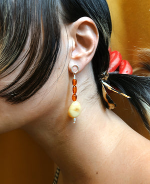 PEBBLE DROPS WITH OPAL & AMBER - ORA-C jewelry - handmade jewelry by Montreal based independent designer Caroline Pham