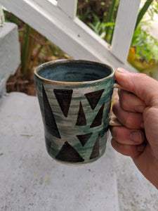 Teal with Black Triangles Mug