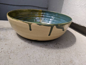 Medium Green Drips Serving Bowl