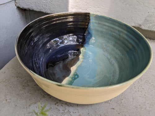 Large Blue and Natural Serving Bowl
