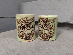 Teal Tigers Sipping Cup Pair