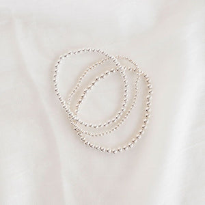 Stretchy Silver Beaded Bracelet