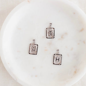 Initial Rectangle Necklace {Silver}
