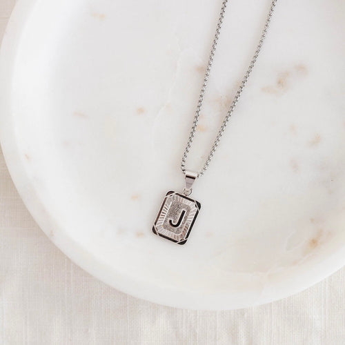 Initial  Necklace in {Silver}