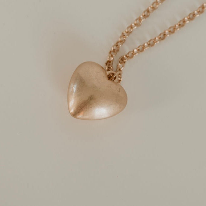 Vintage Matte Gold Heart Necklace