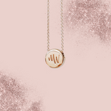 18k Rose Gold Two Letter Monogram Custom Engraved Necklace Charm width – 9mm (0.35 Inches)