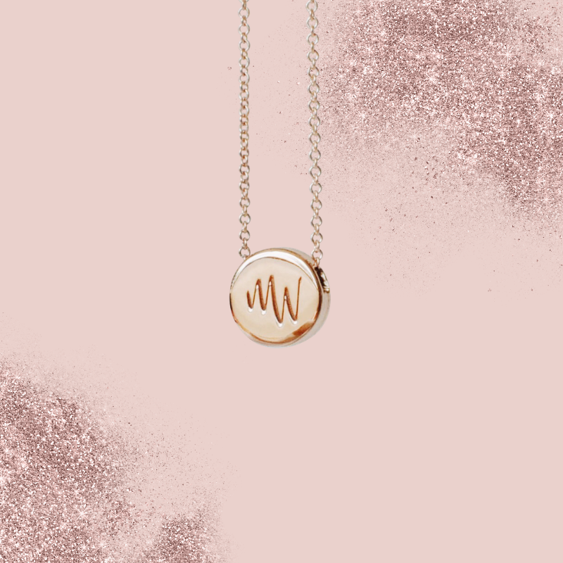 18k Rose Gold Two Letter Monogram Custom Engraved Necklace