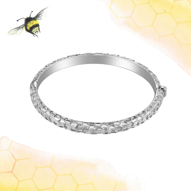 Honeycomb Silver Baby Bangle 🐝