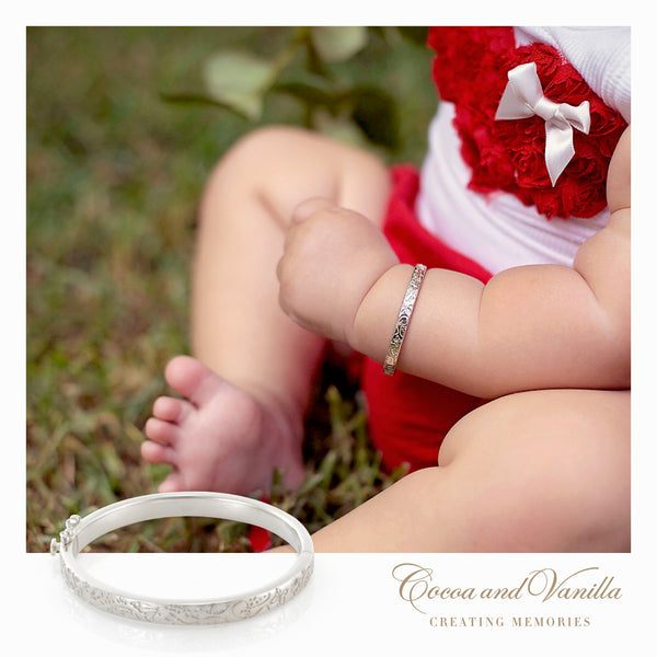Circle of Life Baby Bangle - Etched with cocoons, caterpillars, butterflies and Bees  - representing Love , Life and the Joy of watching your little girl grow.