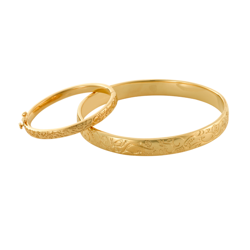 Mother & Child -  🦋Circle of Life - Yellow Gold Bangle Set  - Pre Order -Five week leadtime