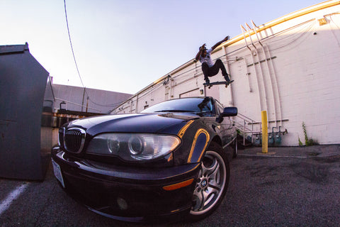 Mateo Butler BMW jump over car Skateboard dna