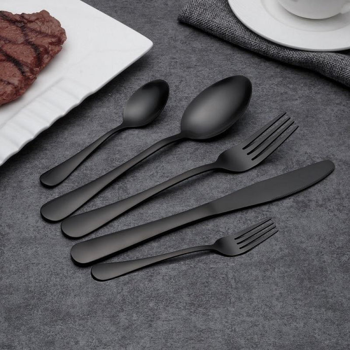 Eco-Friendly Matte Black Cutlery Set