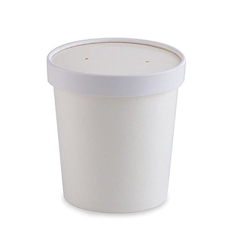25 ct White Paper Ice Cream Pint Containers (16oz) - For Hot And Cold Food Items - Kind4Earth