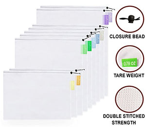 Reusable Mesh Produce Bags - Set of 9 - Kind4Earth