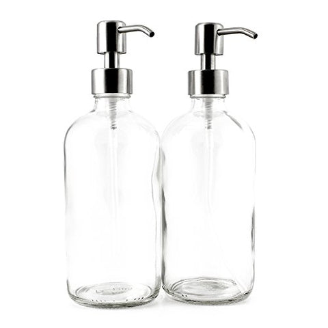 16-Ounce Clear Glass Bottle Dispensers w/ Stainless Steel Pumps (2 pack) - Kind4Earth