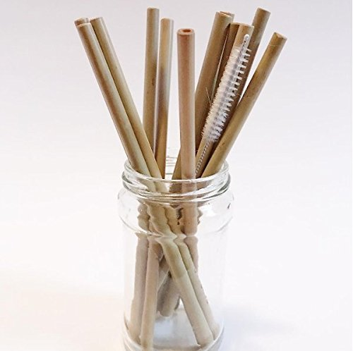 P Pack of 12 Reusable and Biodegradable Bamboo Drinking Straws by BamBoo Roots