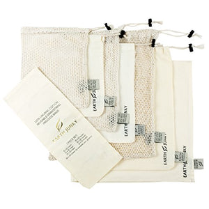 REUSABLE Muslin Produce Bags - 7 pc Set - Kind4Earth