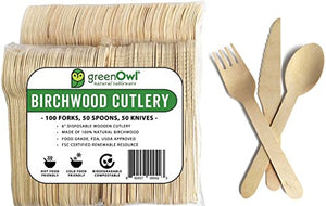 Wooden Disposable Cutlery Set (200, 250 or 300 Pack) - Kind4Earth