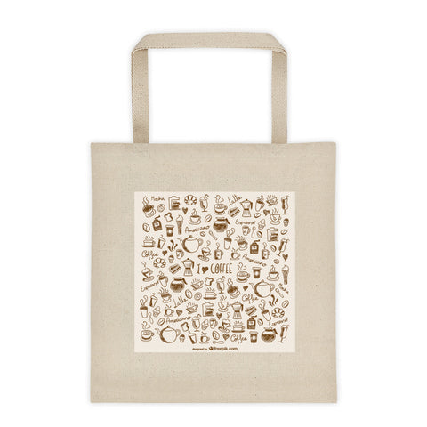 Durable Canvas Shopping Bag - Coffee Doodle Design - Kind4Earth